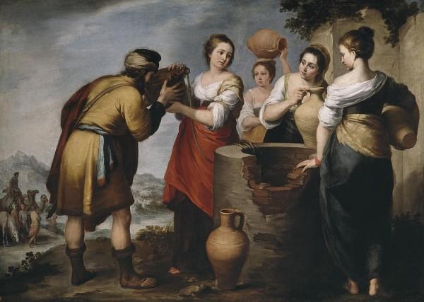 רבקה משקה את אליעזר ליד הבאר. ציור של ברתולמה מורילו, אמצע המאה ה-17.Rebecca and Eliezer at the well. Bartolome Murillo's painting, mid-17th century