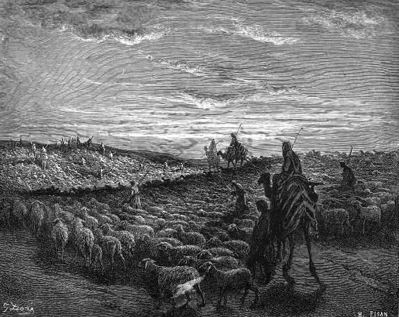 אברהם במסעו אל ארץ כנען, תחריט של גוסטב דורה